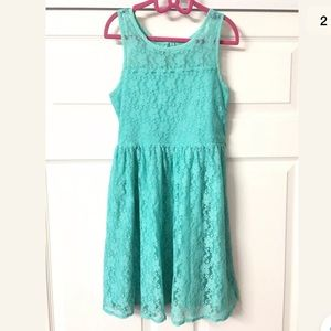 Girl's Justice Sleeveless Green Lace Dress Size 10